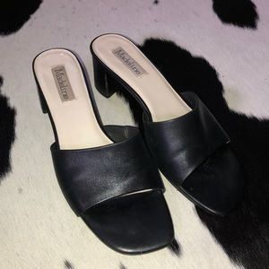 Vintage Shoes - Vintage slip on stacked heel leather mules, size 8